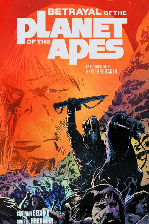 Market Monday Betrayal of the Planet of the Apes TP, co-written by Corinna Bechko  The universally acclaimed miniseries from Corinna Bechko (FEAR ITSELF: THE HOME FRONT, HEATHENTOWN) and Gabriel Hardman (HULK, AGENTS OF ATLAS) is finally collected in trade with an introduction by Ed Brubaker! Taking place twenty years before the events of the landmark 1968 PLANET OF THE APES film, find out what happens when the Lawgiver's most sacred commandment - Ape Does Not Kill Ape - is broken…