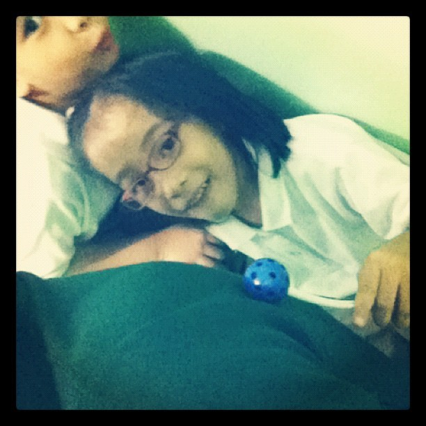 I have an instant masseuse. Haha. She used ball builders as a massage tool. How creative.  (Taken with Instagram)