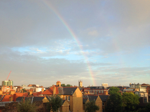London, England… This rainbow appeared just as we were toasting an(other) endless evening.