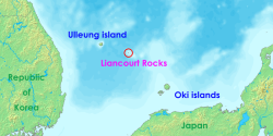 "Location of the Liancourt Rocks in the Sea of Japan (East Sea) between South Korea and Japan. Source: Wikipedia  This week in South Korean island-related political stunts Posted By Joshua Keating It's been a week of high-profile political stunts surrounding the disputed volcanic islands that are known in Korea as Dokdo, in Japan as Takeshima, but will be referred to for the purposes of this post as the Liancourt Rocks. Last Friday, Lee Myung-bak — gearing up for a presidential election in December — became the first South Korean president to ever visit the rocks, prompting Tokyo to recall its ambassador from Seoul. Then, things spilled over onto the football pitch when South Korea defeated Japan in Friday's bronze-medal match:  The International Olympic Committee is temporarily withholding a bronze medal from a South Korean football player who displayed a political sign after a win against Japan. Midfielder Park Jong-woo brandished a banner referring to islands claimed by both South Korea and Japan. The IOC barred him from taking part in Saturday's medal ceremony.  Now, a group of South Koreans are swimming to the Liancourts:  More than 40 South Koreans have begun a relay swim of more than 200km (124 miles) to islands also claimed by Japan amid a serious diplomatic row between the two neighbours. The team of swimmers, led by South Korean singer Kim Jang-hoon, plan to reach the islands on Wednesday, which marks the anniversary of the country's liberation from Japan in 1945. ""Dokdo belongs to the Republic of Korea, so we will shout, 'Go for it with the Republic of Korea,'"" Mr Kim told reporters before the swim began.  As if that wasn't enough:  In another apparent statement on the islands, South Korea has also revealed plans to name a group of spindle trees on the island as a national monument, Yonhap news agency reports.  There are only two permanent residents on the islands — an elderly Korean fisherman and his wife — but there are potential energy deposits in the area, not to mention national pride at stake. This week's gestures are actually fairly mild. In 2005, after a Japanese prefecture declared a ""Takeshima day,"" a South Korean mother and son sliced off their fingers outside the Japanese embassy in Seoul to protest."