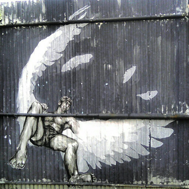 Fallen #angel #graffiti #NYC #bar #Brooklyn #williamsburg #art (Taken with Instagram)