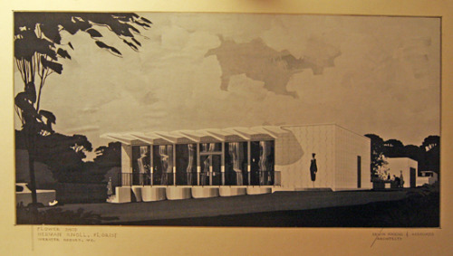 An original drawing by architect Erwin Knoesel of a building on Watson Road that was covered here: Some Mid-Century Modern Buildings Along Watson Road.