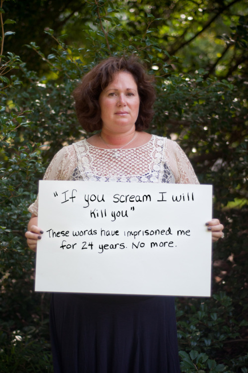 "The poster reads: ""If you scream I will kill you"" These words have imprisoned me for 24 years. No more. — Photographed in Arlington, VA on August 5th.  — Click here to learn more about Project Unbreakable. (trigger warning) Facebook, Twitter, submissions, FAQ, donate to Project Unbreakable     Tags: grace's photography Arlington tw trigger warning    Tags: grace's photography Arlington tw trigger warning"