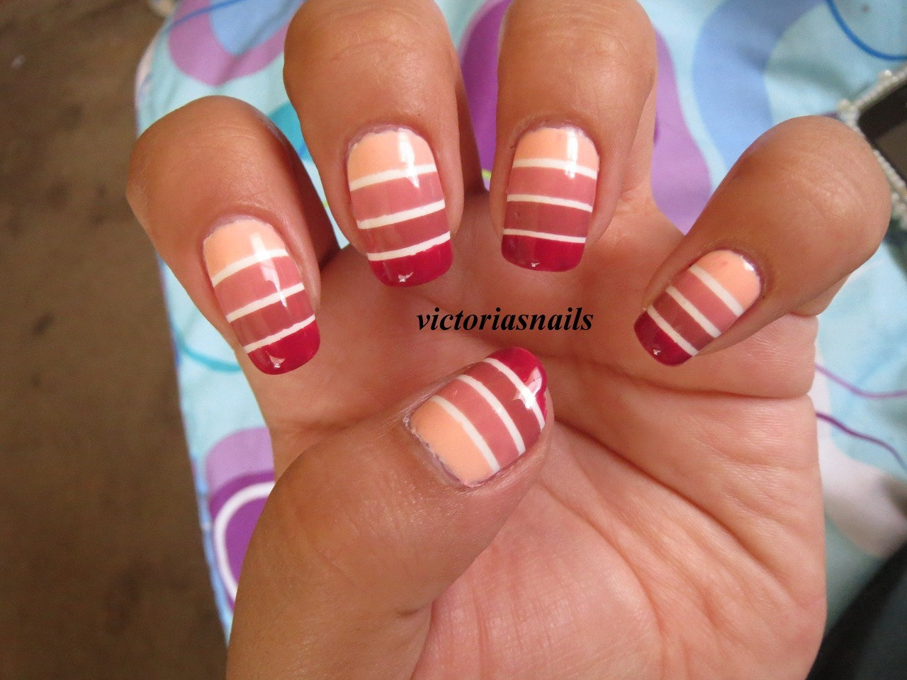 Horizontal Stripes Colors Used:  Essie - A Crewed Interest Wet N Wild - White On Zoya - Mia, Penelope, Bianca