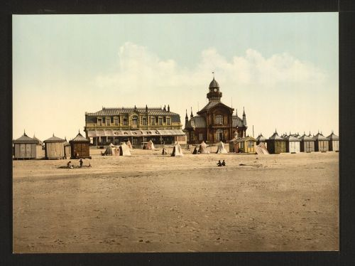 Beach and casino in Calais, France. 1890-1900.