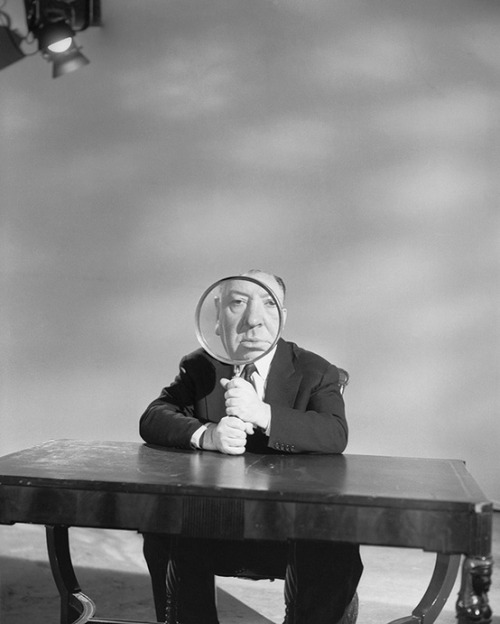theniftyfifties:  Alfred Hitchcock on the set of 'Alfred Hitchcock Presents', Los Angeles, May 1956. Photo by Otto Ludwig Bettmann.