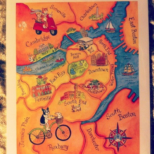 modestmj:  Cutest map of home I ever did see… #boston #cambridge #somerville #cartoons #characters #map #local #art #watercolor #sepialepus (Taken with Instagram)