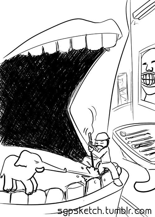 sgpsketch:  I got my mouth beat up at the dentist today. Kinda felt like this ^ =(