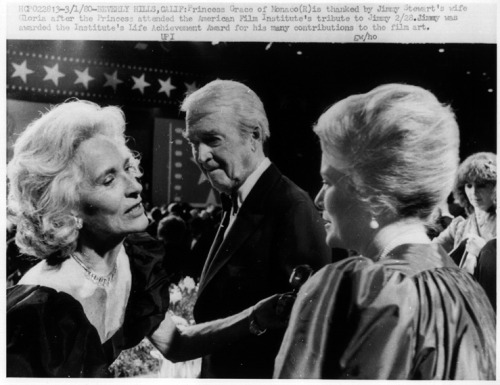 3/1/80 - Beverly Hills, Calif: Princess Grace of Monaco (R) is thanked by Jimmy Stewart's wife Gloria after the Princess attended the American Film Institute's tribute to Jimmy 2/28. Jimmy was awarded the Institute's Life Achievement Award for his many contributions to the film art.
