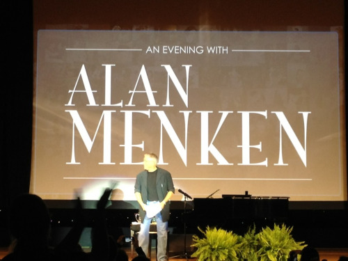 An evening with Alan Menken was the best part of this whole thing. Definitely worth all the money I paid for to get to this I heard music from Aladdin, Beauty and the Beast, the Little Mermaid, and so on. I heard unreleased songs from Hercules that I wish went in the movie. God, so many good things. My eyes watered after every song he played. I didn't want the night to end. I look up to him so much. If I could do one thing with my music degree it would be able to make movie soundtracks. He's the main reason why I don't judge a movie by the storyline but judge by the album. I love this man so much. Made my life.