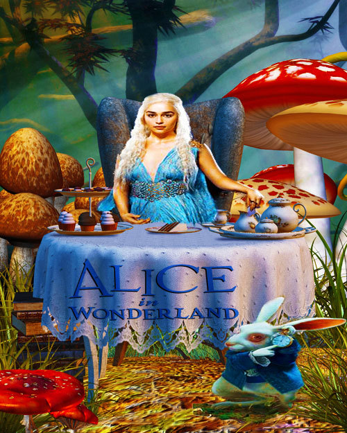 Daenerys Targaryen as Alice in Wonderland. I got the background from prolific-stock.