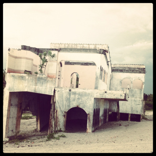 Deserted mansion on the beach in El Salvador