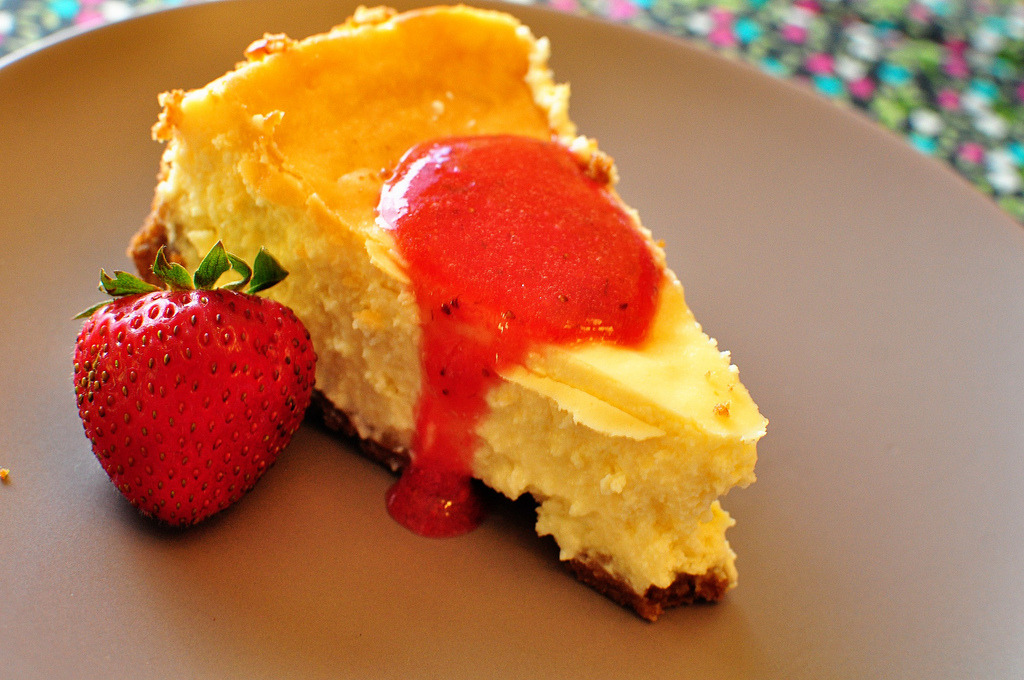 Key Lime Cheesecake with Fresh Strawberry Sauce (by meghensley)