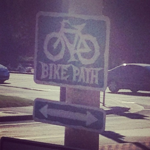 wicked bike path I guess #bikes #signs #weathered #metal #iphone4s #losangeles (Taken with Instagram)