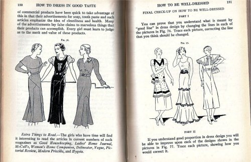 "Two pages from ""A girl's problems in home economics in clothing - home - food - family. copyright 1934."