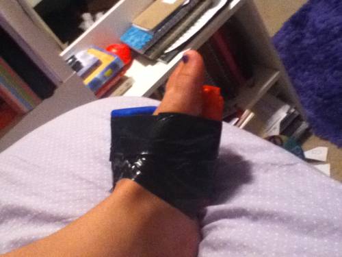 My makeshift bandage for the night, consisting of 2 icepacks and some duct tape… Hoping my foot will be feeling up to dance tomorrow!! Fingers crossed!