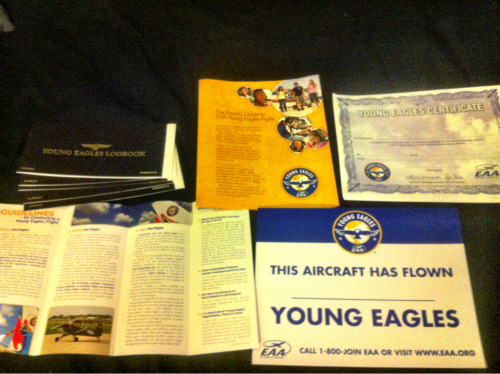 tdpilot:  Got a package in the mail from the EAA today telling me I am a registered flight leader for the young eagles program. They want me to take 10 kids on their first flights over the next year. I get to give each kid a log book, certificate of completion and a voucher for free ground training. For those of you that don't know about the young eagles program, it gives kids and teenagers the opportunity to take a free flight in a general aviation aircraft. During my flights, I allow the kids to take the controls (with me) and get a feel for flying an airplane. Its really a great experience. If you know anybody that is interested in aviation and is between the ages of 8-17, contact the EAA (experimental aircraft association) and ask about the young eagles program. If you are in the bay area, drop me a line and I will get you set in the right direction.   I just really love this guy's blog