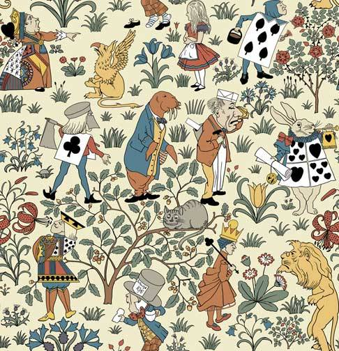 sugarmeows:  Vintage Alice in Wonderland wallpaper, designed by Tony Sarg