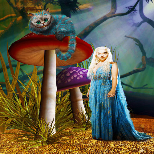 Daenerys targaryen as Alice in wonderland with the cheshire cat. I got the background from prolific-stock.