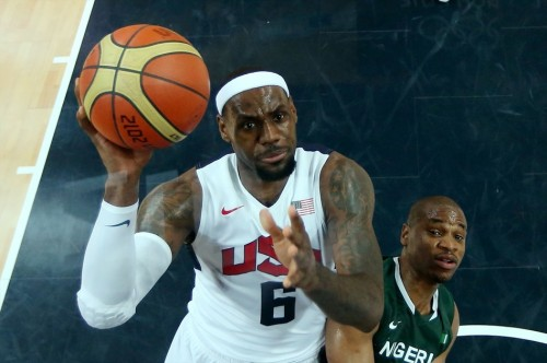 USA 156 - NIGERIA 73 (August 2, 2012) LeBron James, Team USA [Image Source: NBC Olympics; Photographer: Chrisitian Petersen/Getty Images; Box Score]