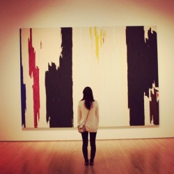 isabellykim:  Being cultured at #SFMOMA (Taken with Instagram)  Nice black + white color reversal happening in this photo! Pictured: Clyfford Still's Untitled (1960)