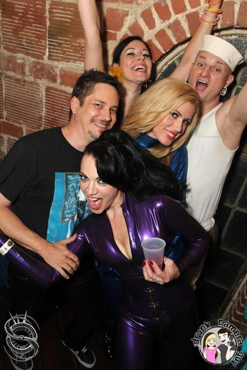 me, @RandyMoore007 @JeanBardot @AnastasiaPierce and JSin at the Castle of Friday during @FetishCon - crazy pic taken just after the show. I think the drinks were strong and had just starting kicking in.