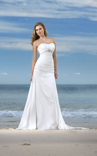 A-line Strapless Chapel Train Elastic-satin Wedding Dress