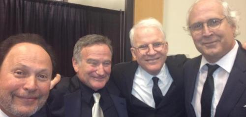 (from left to right) Billy Crystal, Robin Williams, Steve Martin and Chevy Chase looking awesome.