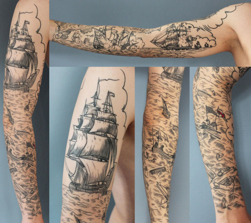pmsgirl:  fuckyeahtattoos:   scrimshaw, battleshipsdone in HK, starcrossed tattoo by rich phipson.    oh wow
