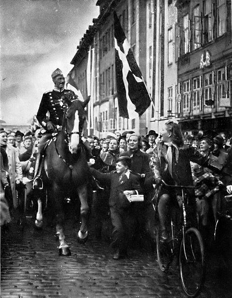 King Christian X riding through Copenhagen on his 70th birthday, 26 September 1940, amidst the German occupation of Denmark.