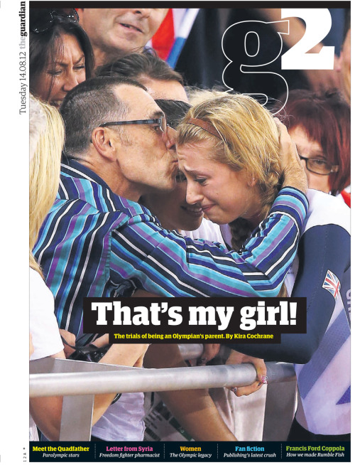 Today's G2 cover: What is it like to be an Olympic athlete's parent?  Extreme highs and crushing lows are part of an elite athlete's life. But what do mothers and fathers go through while their kids toil away in search of glory?