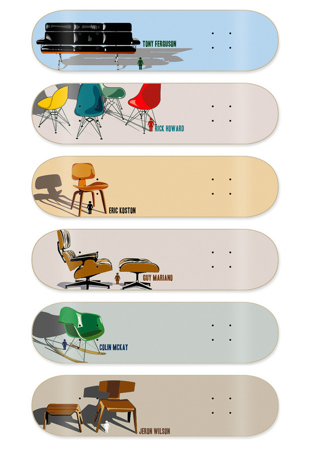 (via Girl Skateboards: Modern Chair Series - Blog - David Galletly) Old Girl Skateboards designs. Used to have the Jeron Wilson one - it was my first ever 'real' deck.