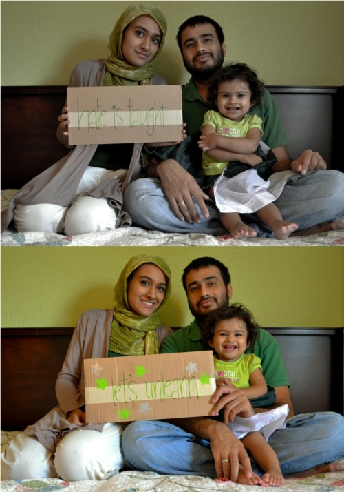pakistanisagainststereotyping:  Sarah and Obaid and their infinitely adorable Nusaybah are three lovely Pakistanis who know how hate rolls: It's taught so it has to be unlearned. Stop stereotyping. Stop the hate. P.S. Nusaybah's smile wins without a doubt.