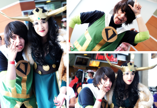 Just thought I'd put up my pictures of that beautiful lady Loki who I first saw on Friday when I didn't have my camera on me and thought I would never see again (woe is me). But then when she reappeared on Sunday I pretty much dashed out of artist alley and left my dignity behind me.Oh yeah, and that little mini-shit is with her too.(Making these photos just THAT much better) Lady Loki and Kid Loki