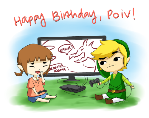 HAPPY ONE-DAY BELATED BIRTHDAY, POIV! I started drawing this the day of your birthday so it's not entirely late? Except it still is ahha. I had no idea it was your birthday til Vii mentioned it and then I wanted to draw something but I sorta really rushed it so I'm sorry if I destroyed Link and PS3s for you ;-;  You're super adorable, funny, and nice and I'm really glad that we were able to start talking! Also, you're a crazy talented artist and even though you're younger than I am, I really admire you :> Hope you had a great birthday and birthweek and birthmonth!!