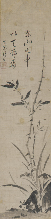 Bamboo, orchids, and rocks, 1392-1568, Muromachi period, ink on paper