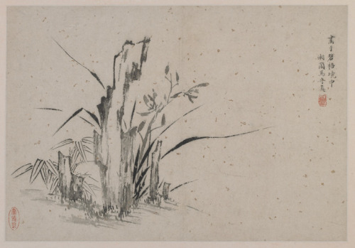 Ma Shouzhen, Bamboo, Rocks, and Orchids, late 16th century, ink on gold-flecked paper