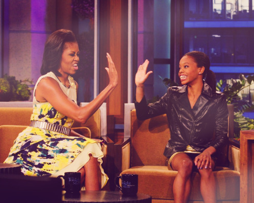 Gabby Douglas gets a high-five from First Lady Michelle Obama during her appearance on The Tonight Show with Jay Leno (x)