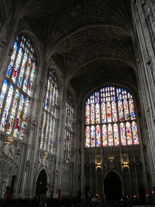 fuckyeahgothiccathedrals:   King's College Chapel, Cambridge (1446-1515) | In colour I recently went to Cambridge, where I visited a few of the colleges. King's College Chapel was knows as one of Europe's finest buildings when it had been completed in 1500s, and it still recognized as one of the most beautiful pieces of Gothic architecture. Despite the fact that it is very small when compared to the size of High Gothic cathedrals, the grandeur and beautiful details of the chapel more than makes up for this.