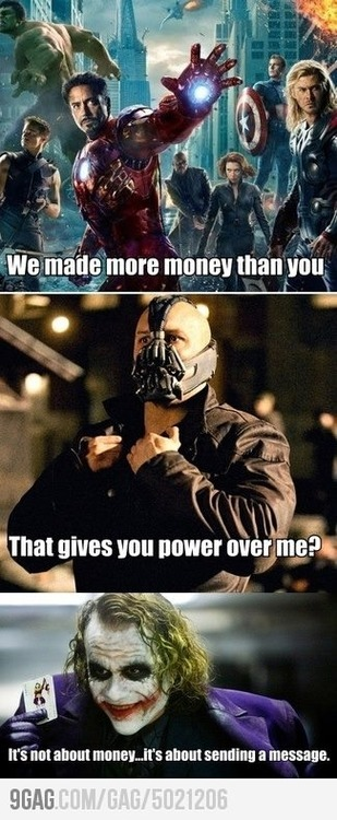 hollywoodshenanigans:  Batman vs. The Avengers  yes, its not bout the money.