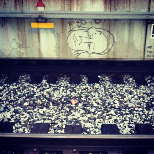 Off the beaten path, actually on the other side of the tracks… #street #art #traintag (Taken with Instagram)