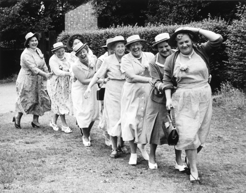 Grace Robertson. Conga Line, London Women's Pub Outing, 1956