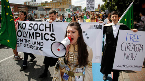 "With the London Summer Olympics gone, the politics of 2014's Winter Olympics in Sochi, Russia are naturally ramping up. Did you think the Olympics were over? The Olympics are never over. There are several problems popping up surrounding Sochi, like the impacts of Olympic construction and the fact that Sochi is only 300 miles or so away from Chechnya (talk about security concerns). Another political upset comes from the Circassian diaspora community, some of whom are seen in the photo above in London during the Olympics protesting Sochi's winter games. Circassians are the indigenous people of the northwest Caucasus, where Sochi is located, but were expelled from their homeland in the 19th century by Russia and subjected to an ethnic cleansing campaign. 2014 is particularly relevant to the Circassian diaspora community because it marks the 150th anniversary of the start of Russia's campaign against them in 1864, a campaign which Arno Tanner wrote marked the invention of ""the strategy of modern ethnic cleansing and genocide."" Zack Barsik, a Circassian-American and member of the Circassian Cultural Institute says ""We don't want the Sochi Olympics to happen on our ancestors graves."" Chris Helgren/Reuters [CBC]"