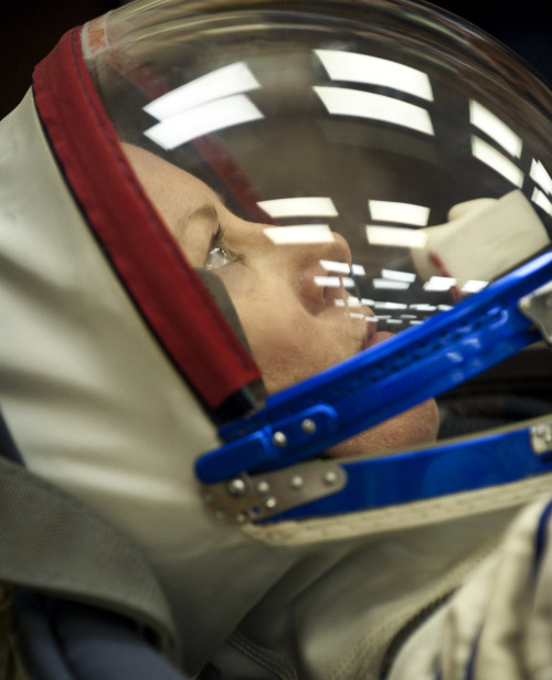 fuckyeahfemaleastronauts:  Astronaut Tracy Caldwell Dyson in her Sokol suit. Today is her Birthday!  Love Tracy!