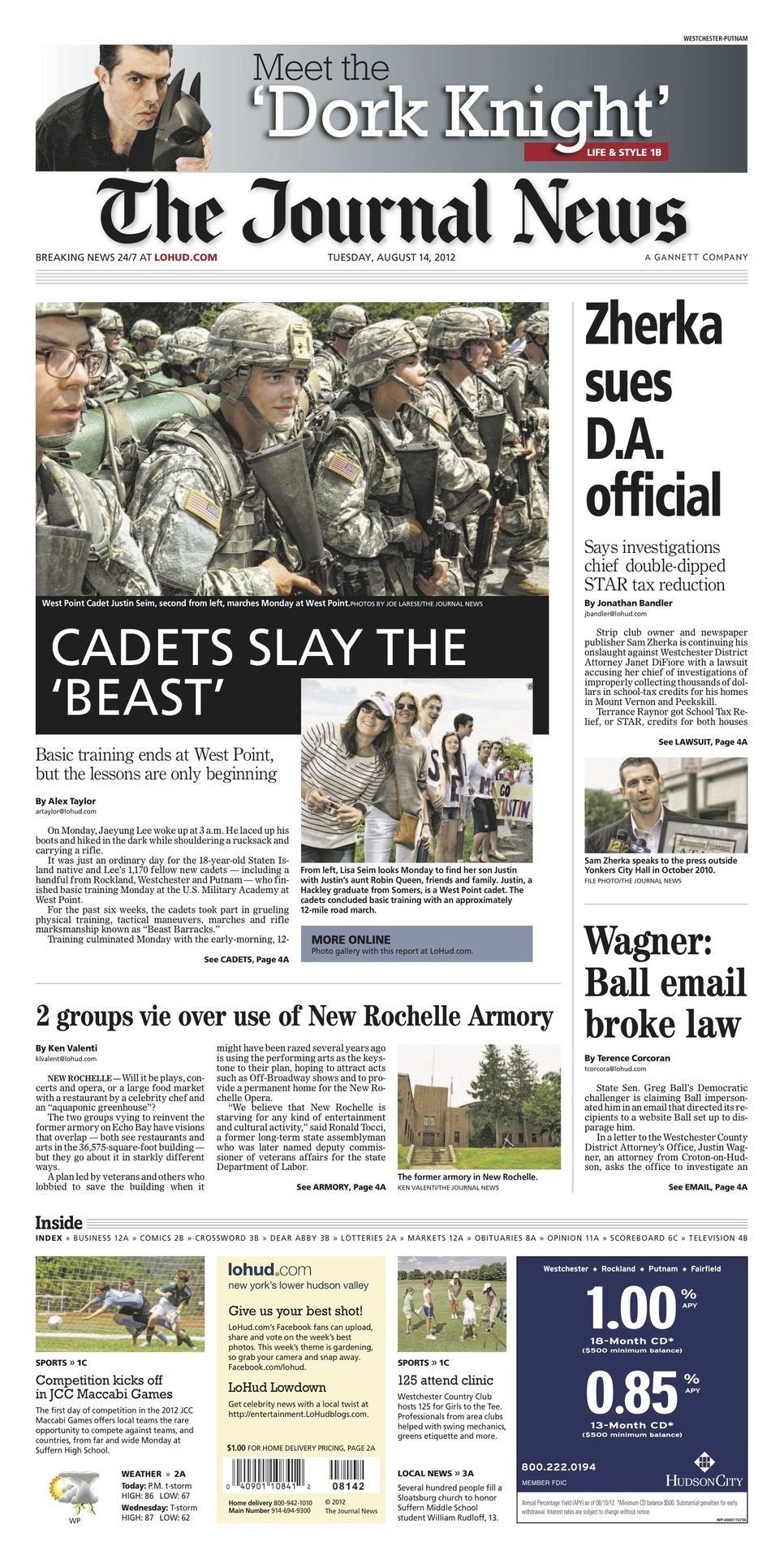 News from the front: CADETS SLAY 'THE BEAST'  Zherka sues D.A. official 2 groups vie over use of New Rochelle Armory  Wagner: Ball email broke law