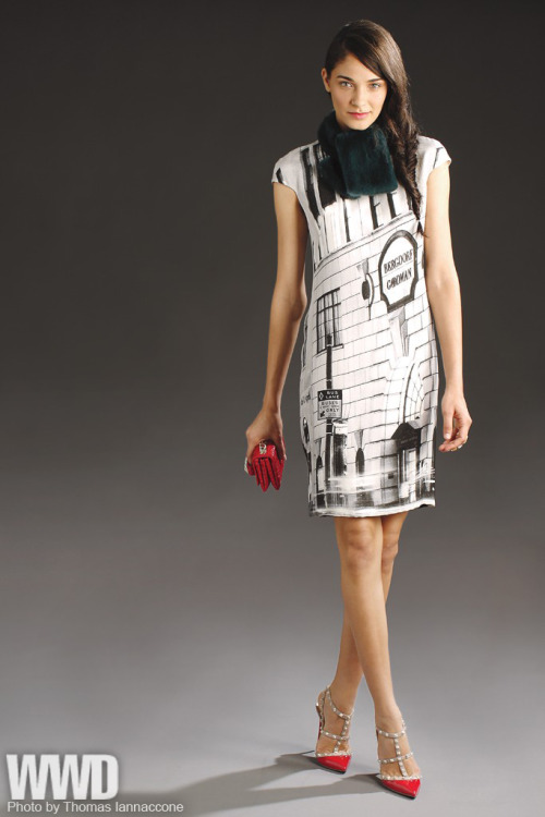 womensweardaily:  Bergdorf Goodman's Anniversary Collection Akris' silk dress and mink scarf, Eddie Borgo's Swarovski Elements and gold-plated ring and Valentino's crocodile clutch and patent leather shoes, both with crystal rock studs.