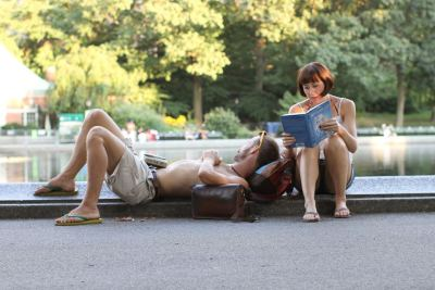"humansofnewyork:  ""Reading to each other"" was a common activity in the 1800's and early 1900's, especially among couples. But it's rare enough today to be worthy of documentation."