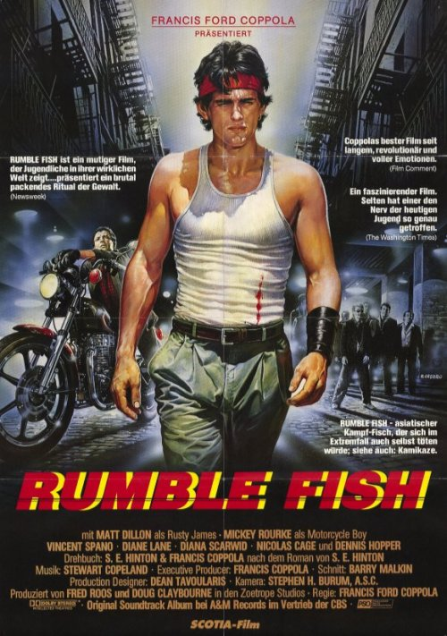 Rumble Fish (1983)Rusty James is the leader of a small, dying gang in an industrial town. He lives in the shadow of the memory of his absent, older brother — The Motorcycle Boy. His mother has left, his father drinks, school has no meaning for him and his relationships are shallow. He is drawn into one more gang fight and the events that follow begin to change his life.Cast:Matt Dillon, Mickey Rourke, Diane LaneFollow this blog for the neverending list of all the teen movies ever made!