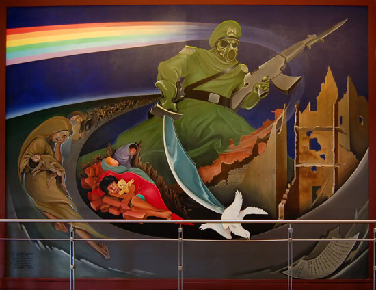 Genocide. Disturbing murals in the Denver airport.