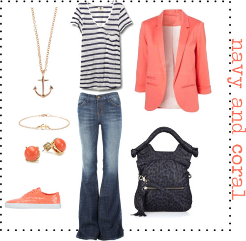 navy and coral by sparlingo featuring current/elliott jeans Sometimes it's fun to be a little matchy- and I think this blazer with those shoes is a really fun way to do that :).